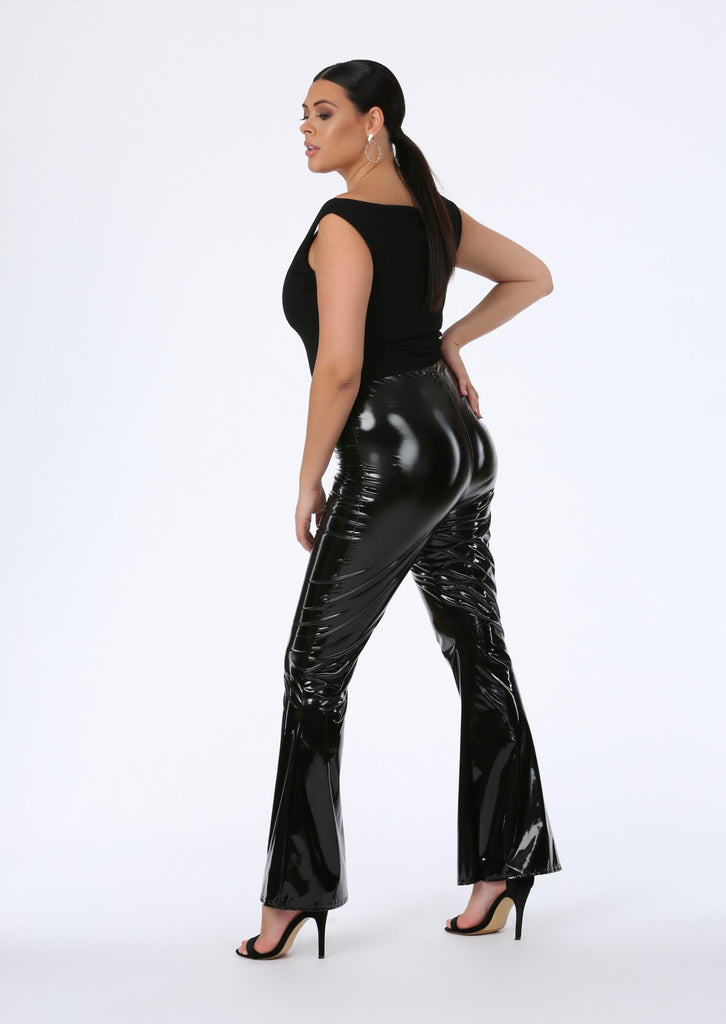 Black PVC Flare Trousers 1 view main view