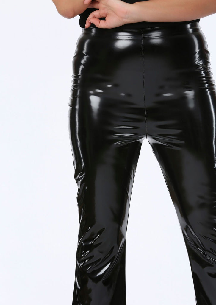 Black PVC Flare Trousers 5 view 5