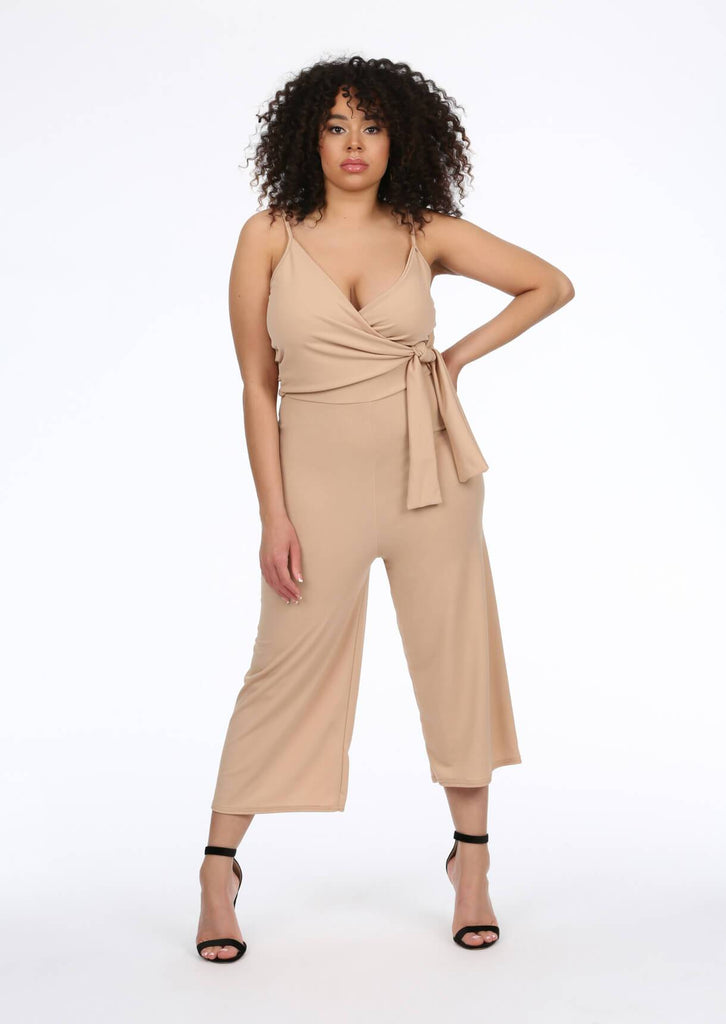 Pink Clove Stone Tie Front Culotte Jumpsuit view main view