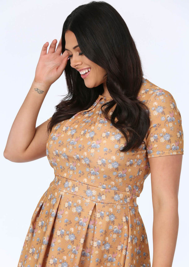Plus Size Mustard Floral Pleated Dress view 2