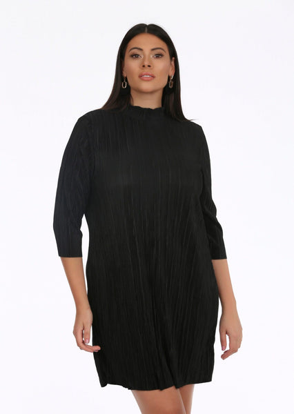 a4ef1d4e99 plus size black collar high neck pleated dress