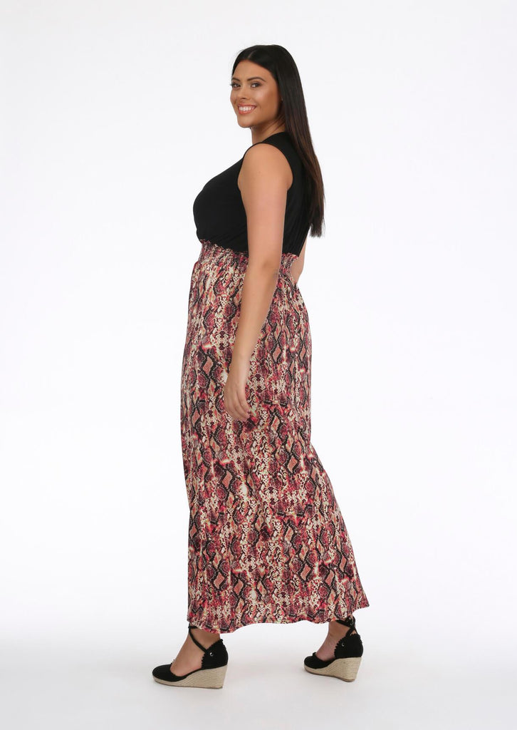 Pink Snake Plunge Slinky Maxi Dress 2 view 2