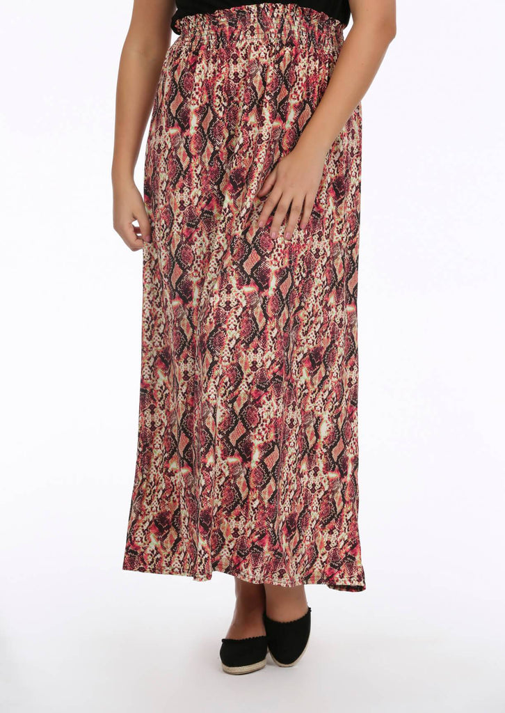 Pink Snake Plunge Slinky Maxi Dress 4 view 4