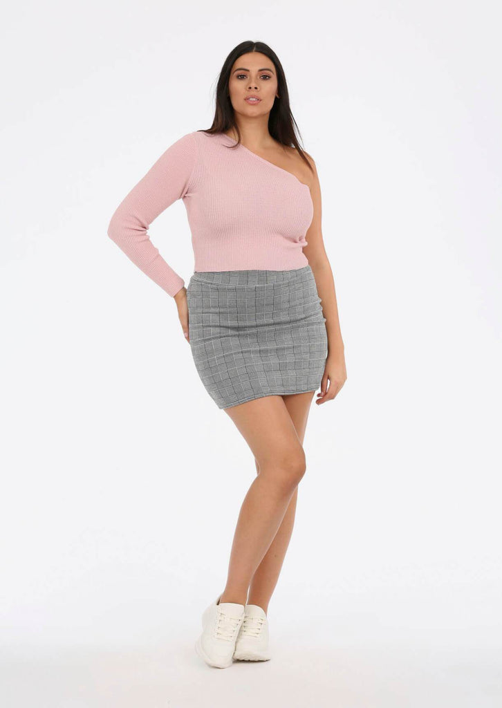 Grey Check Mini Skirt 1 view main view