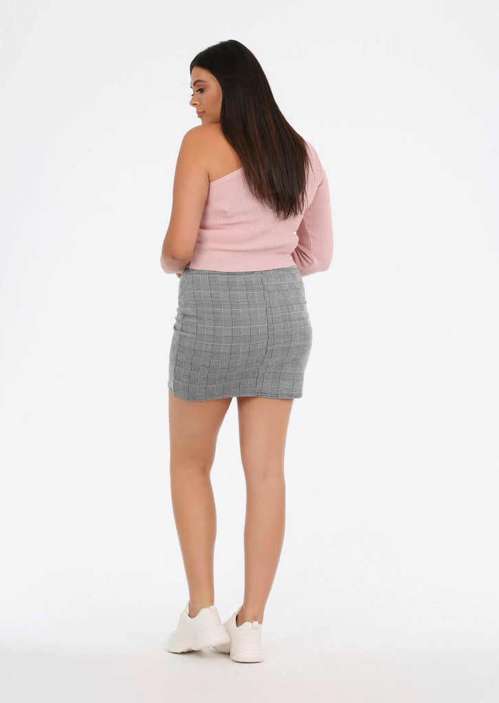 Grey Check Mini Skirt 3 view 3
