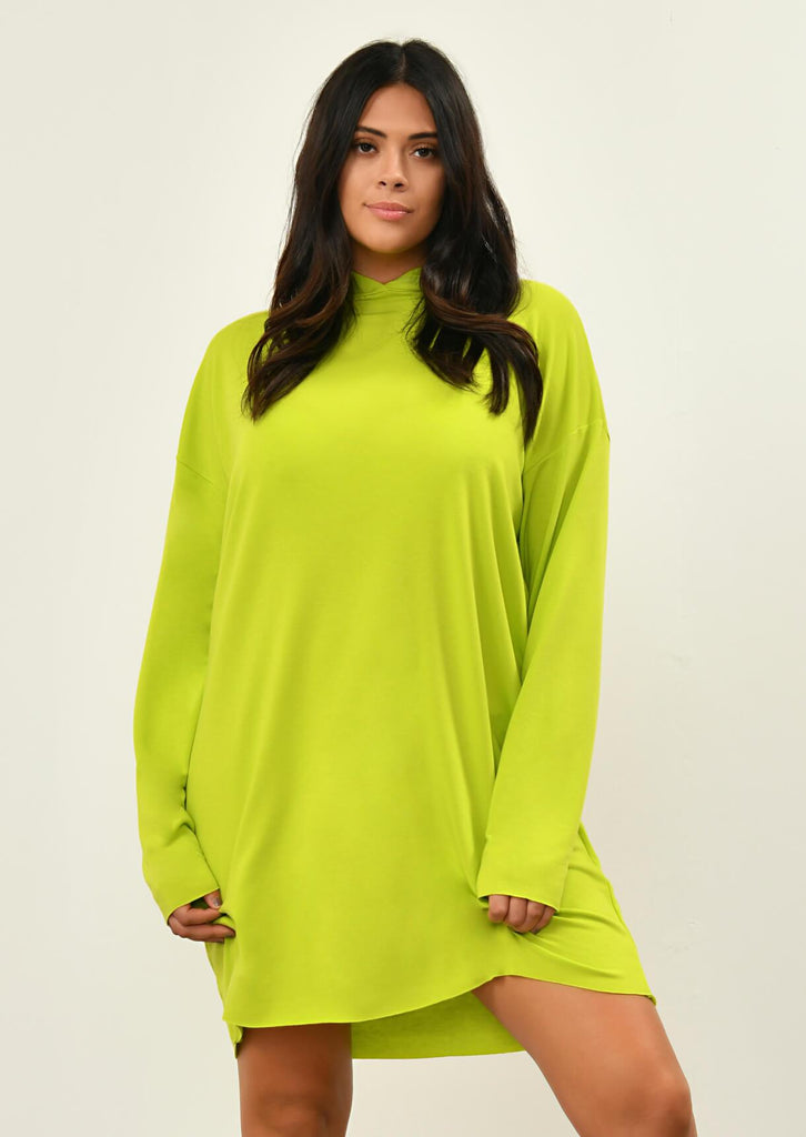 Pink Clove Lime Green Hooded Dress view main view