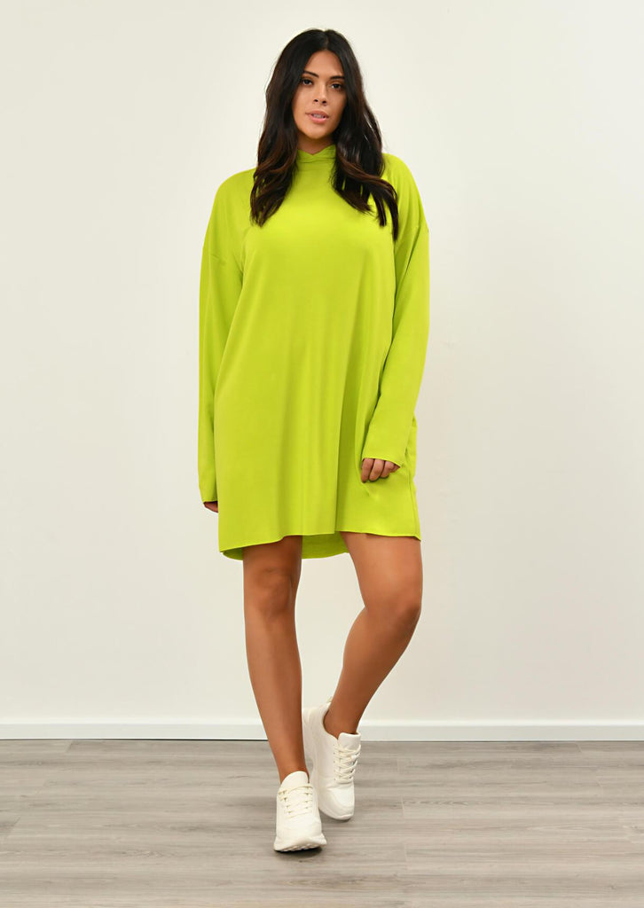 Pink Clove Lime Green Hooded Dress view 3