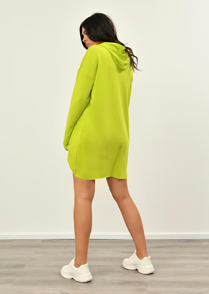 Pink Clove Lime Green Hooded Dress view 5
