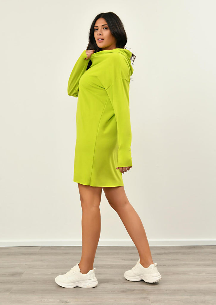 Pink Clove Lime Green Hooded Dress view 4