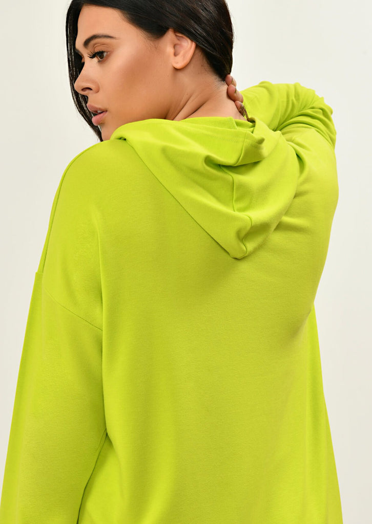 Pink Clove Lime Green Hooded Dress view 2