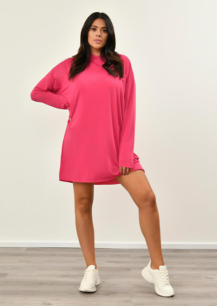 Neon Pink Hooded Dress 3 view 3