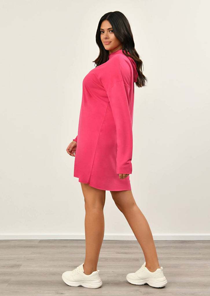 Neon Pink Hooded Dress 4 view 4