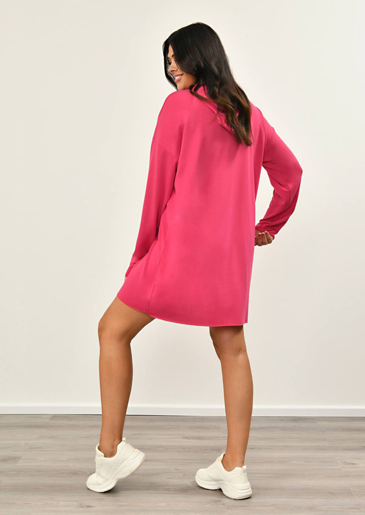 Neon Pink Hooded Dress 2 view 2