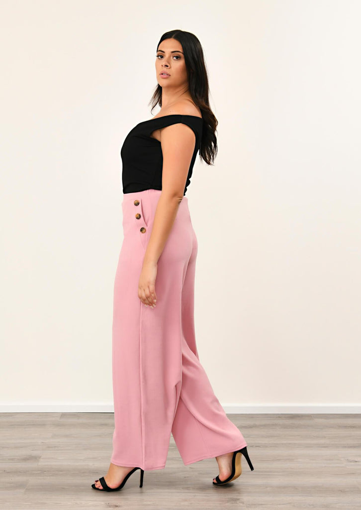 Pink Clove Rose 3 Button Wide Leg Trousers view 2