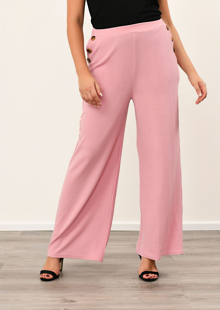 Pink Clove Rose 3 Button Wide Leg Trousers view 4