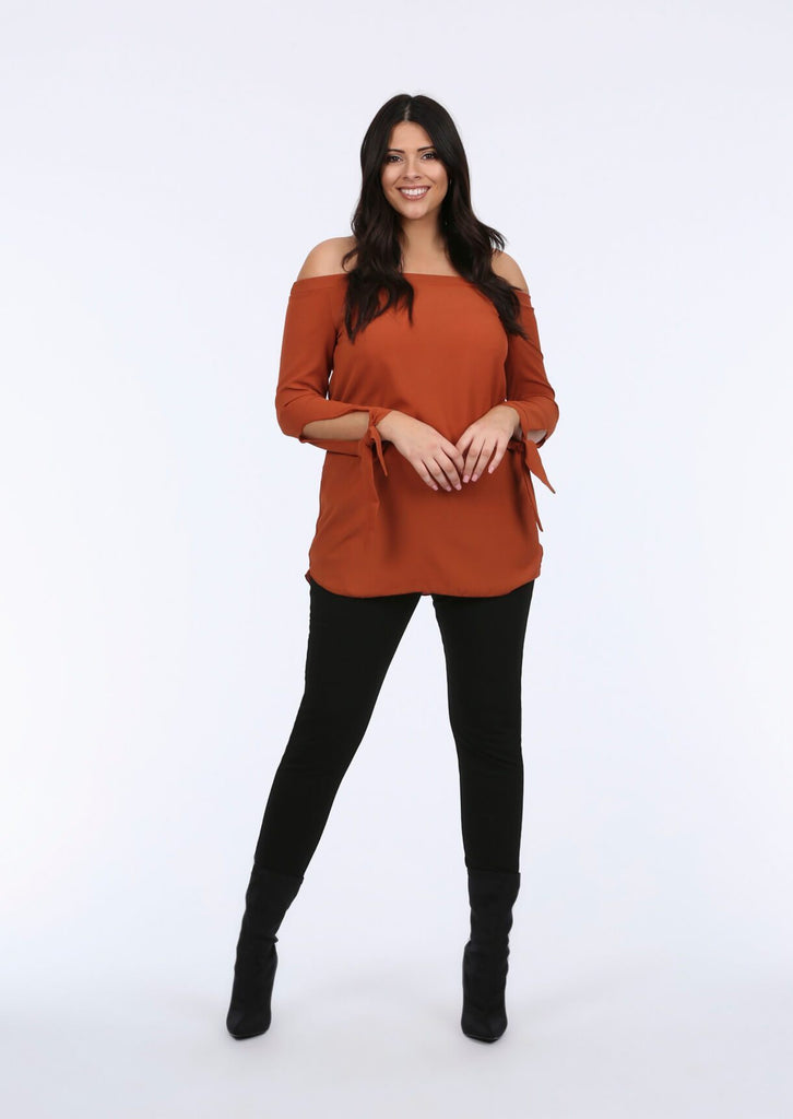 Plus Size Off the Shoulder Tie sleeve Rust Top view main view