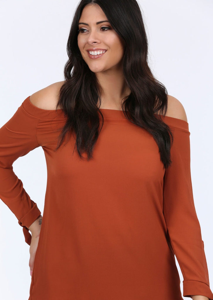 Plus Zayah Off the Shoulder Tie sleeve Rust Top view 3