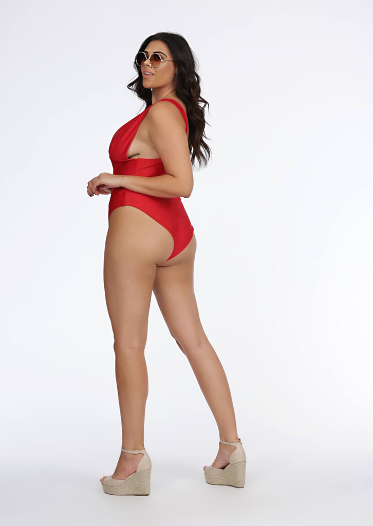 Red Deep Plunge Swimsuit 5 view 5