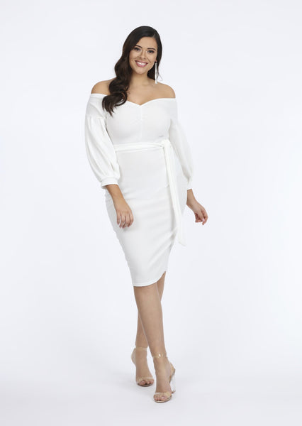 Plus Size Ivory V-Neck Long Sleeve Midi Dress