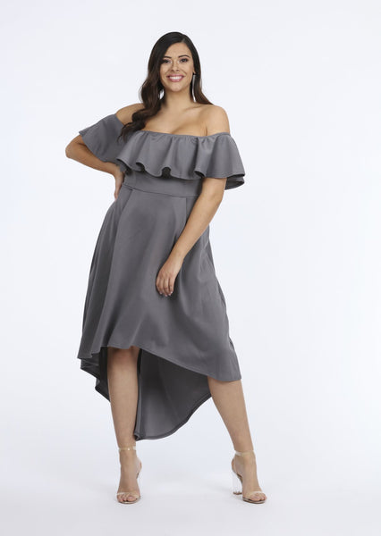 Plus Size Grey Off The Shoulder Frill Sleeveless Dress