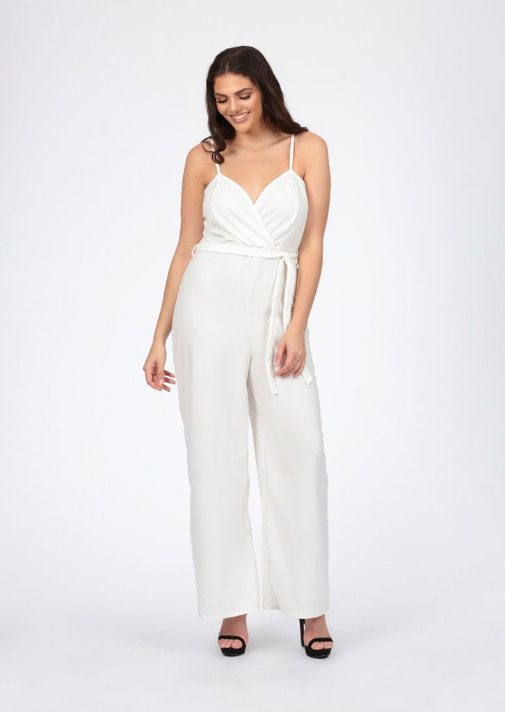 Pink Clove Cream Wrap Front Strappy Wide Leg Jumpsuit