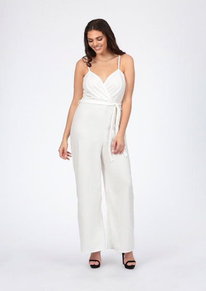 29a4ac4858d7 plus amora cream wrap front strappy wide leg jumpsuit