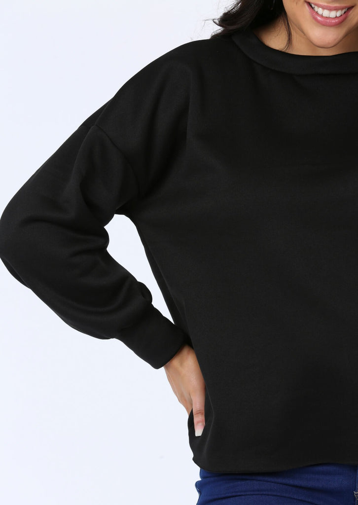 Raw Edge Sweat Top In Black view main view