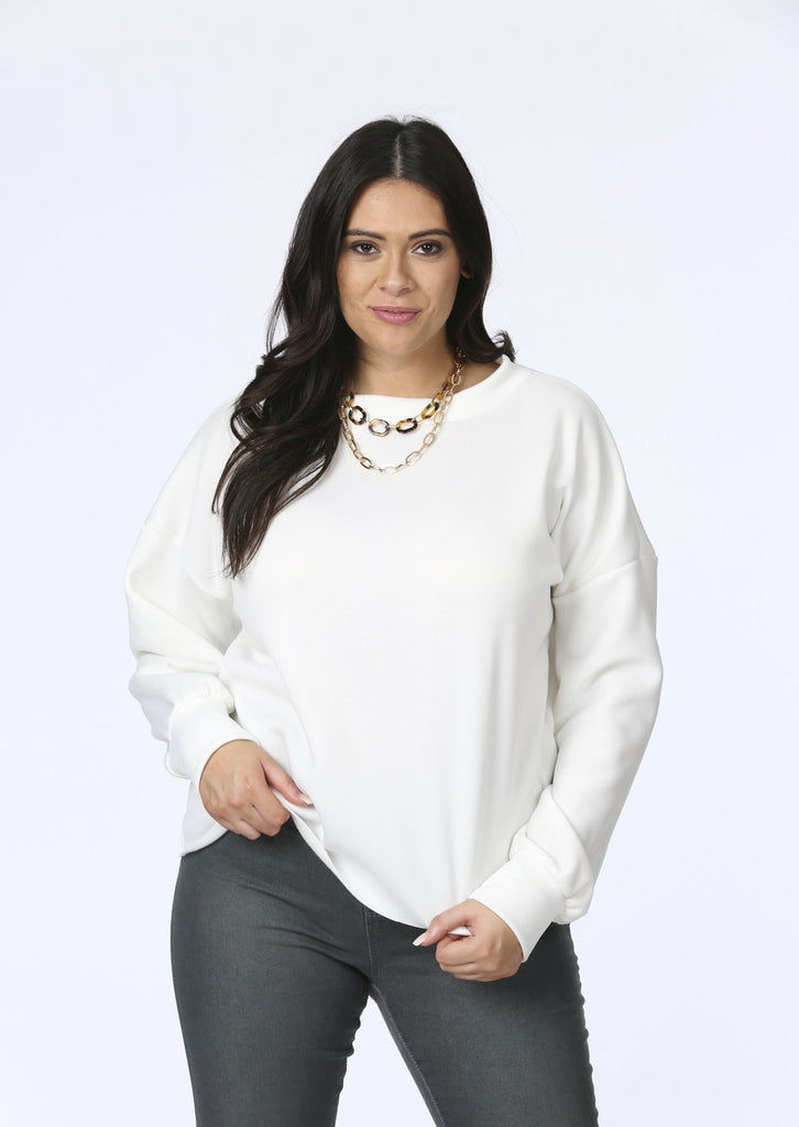 Pink Clove Raw Edge Sweat Top In Cream view main view