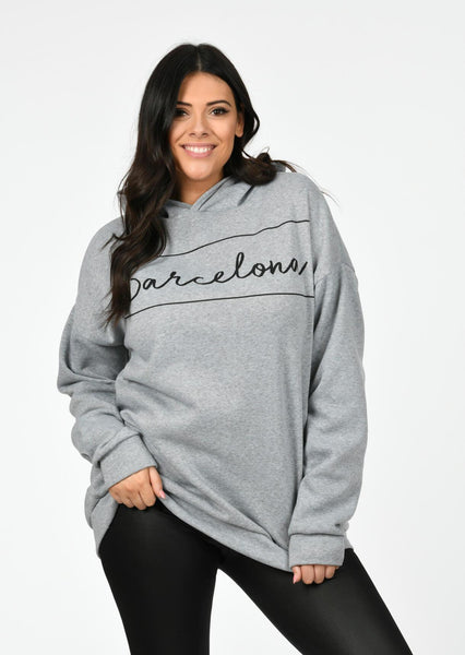 Plus Size Barcelona Oversized Hooded Sweat in Marl Grey