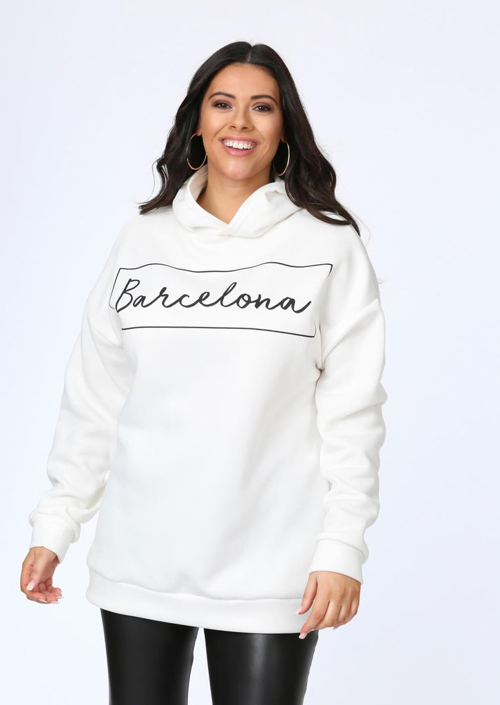 Plus Size Barcelona Oversized Hooded Sweat view main view