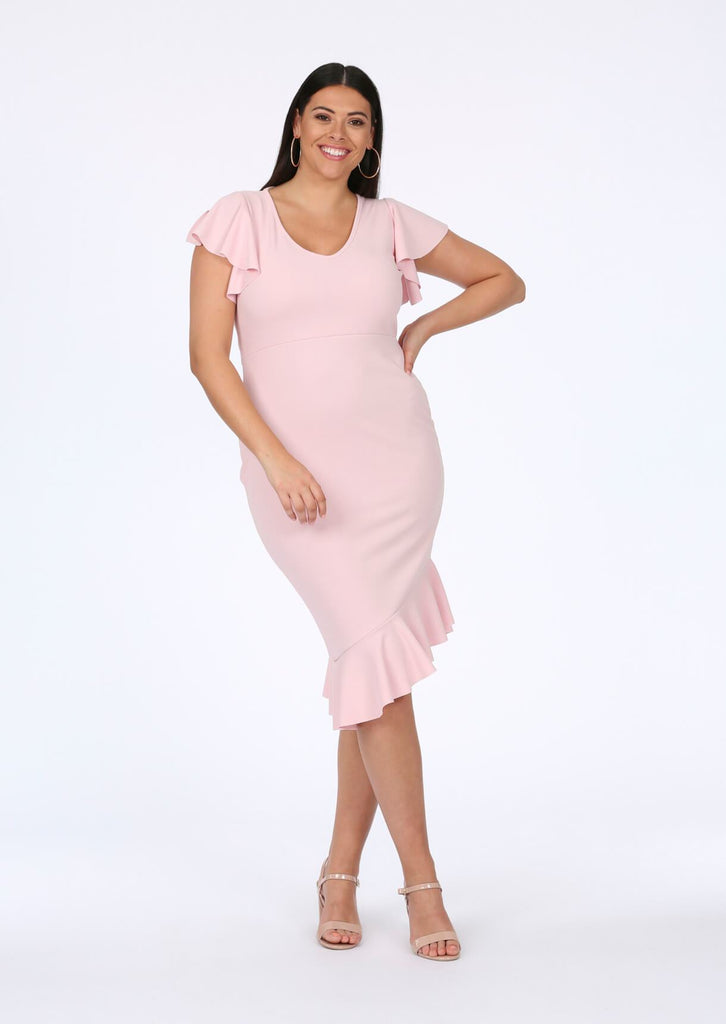 Baby Pink Asymmetrical Midi Dress 1