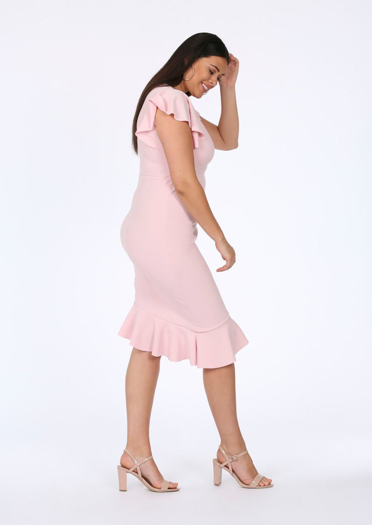 Baby Pink Asymmetrical Midi Dress 2 view 2