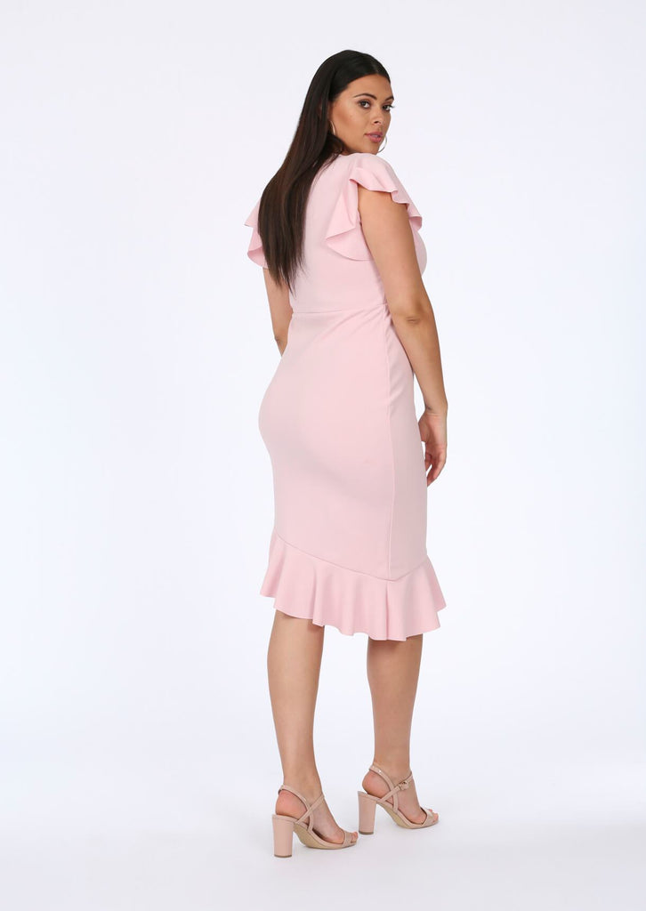 Baby Pink Asymmetrical Midi Dress 3 view 3