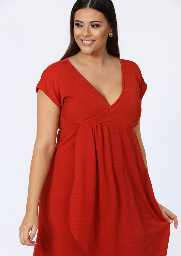 Plus Size Rust Short Sleeve Wrap Front Style Midi Dress view 2
