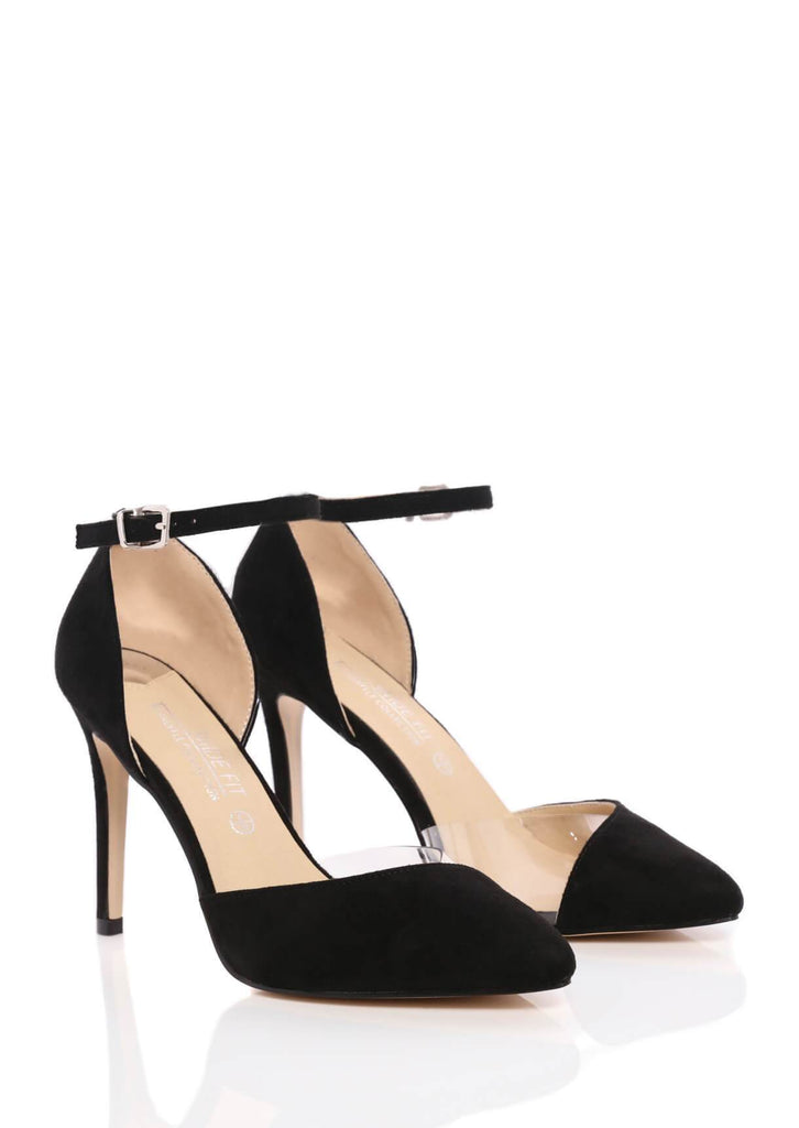 Pink Clove Wide Fit Perspex Panel Court Shoe in Black Truffle Collection