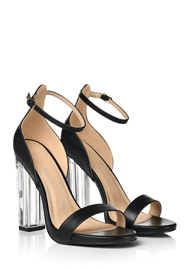 Pink Clove Wide Fit Black Clear Block Heel Sandals