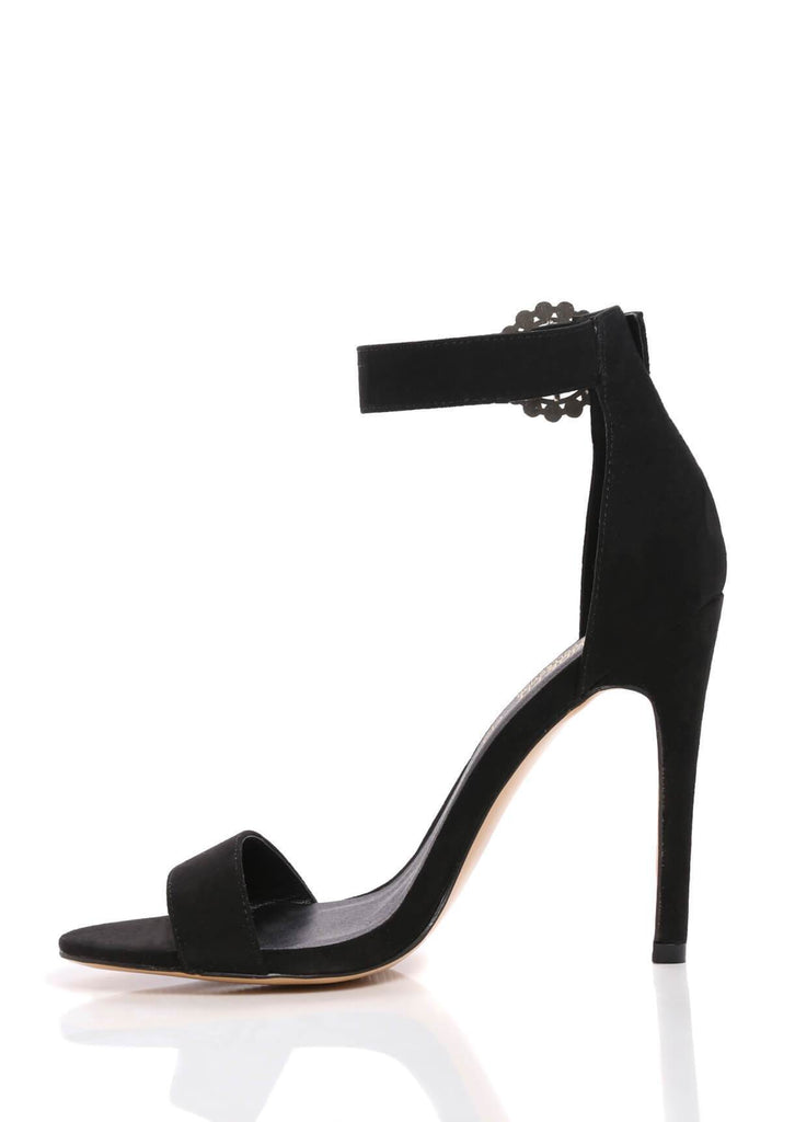 Pink Clove Wide Fit Black Stiletto Suede Sandals Truffle Collection view 3