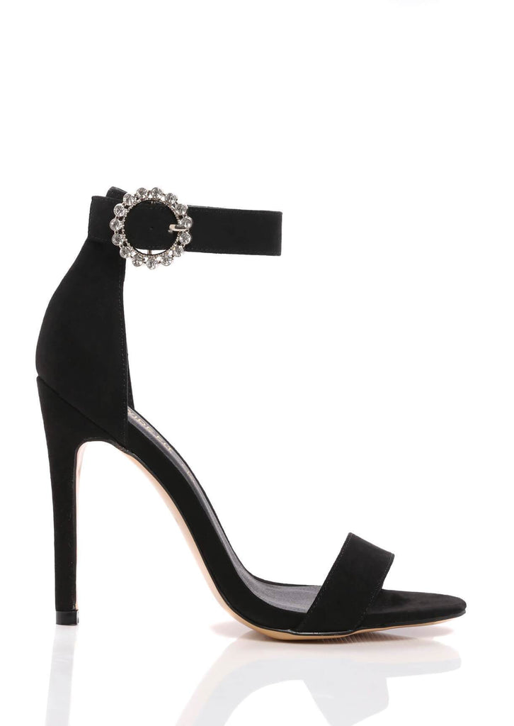 Pink Clove Wide Fit Black Stiletto Suede Sandals Truffle Collection view 2