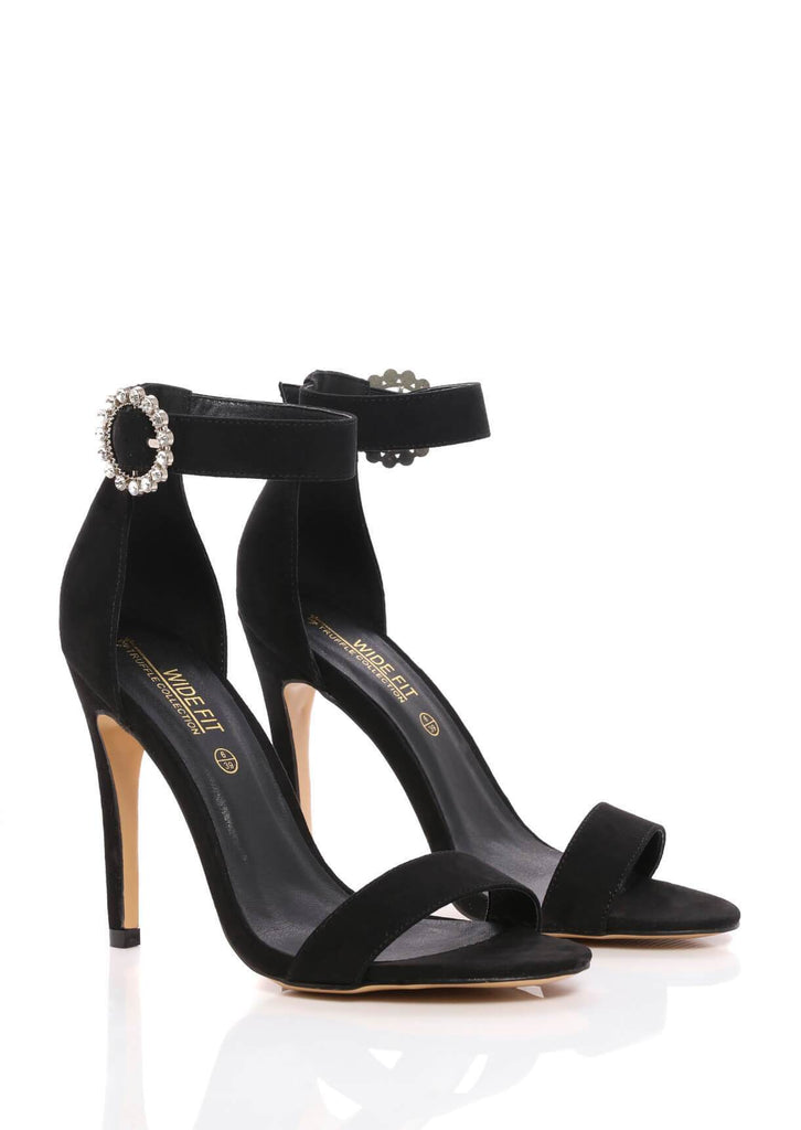 Pink Clove Wide Fit Black Stiletto Suede Sandals Truffle Collection