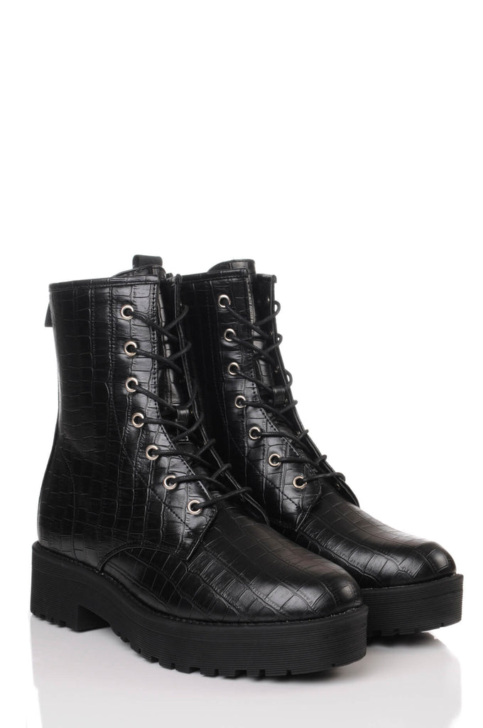 Pink Clove Wide Fit Black Croc Chunky Lace Up Boots view 3