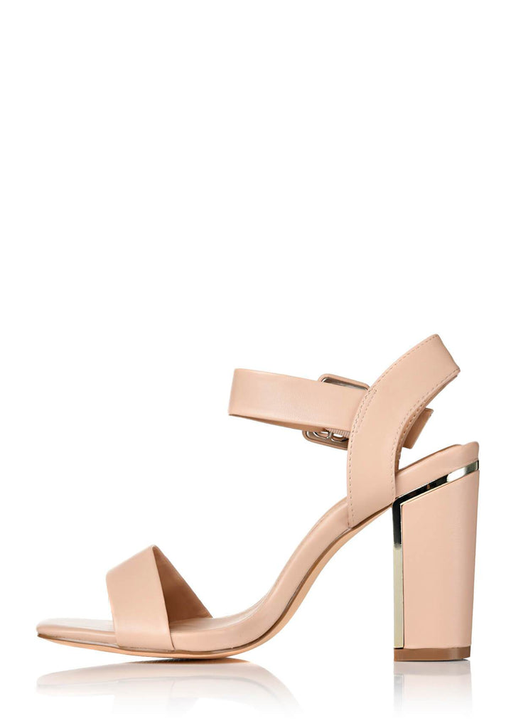 Pink Clove Wide Fit Nude Two Part Block Heel Sandals view 2
