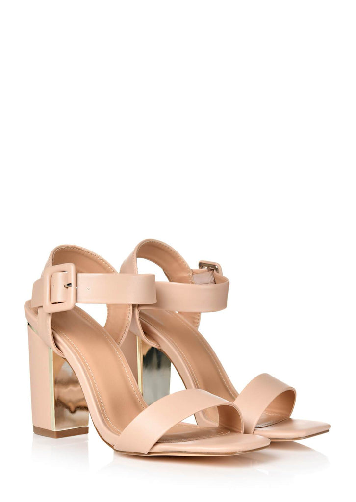 Pink Clove Wide Fit Nude Two Part Block Heel Sandals