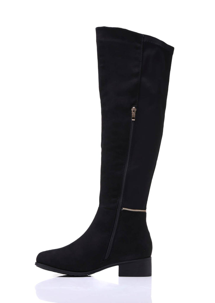 Truffle Collection Wide Fit Flat Elasticated Over Knee Boots