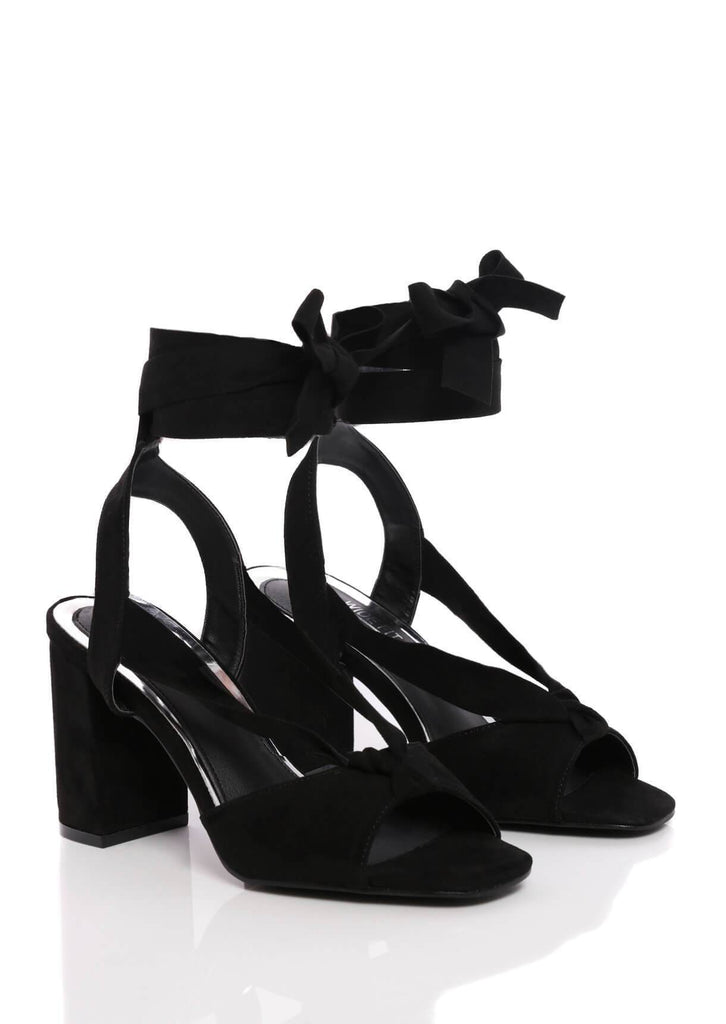 Truffle Collection Black Suede Wide Fit Block Heel Sandals