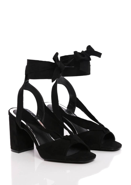 Truffle Collection Wide Fit Block Heel Sandals in Black Suede