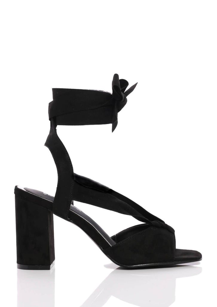 Truffle Collection Black Suede Wide Fit Block Heel Sandals view 3