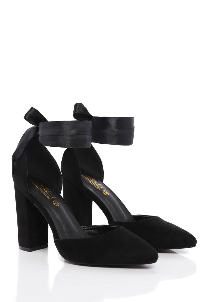 Truffle Collection Vicky Wide Fit Block Heel Court Shoe in Black Suede