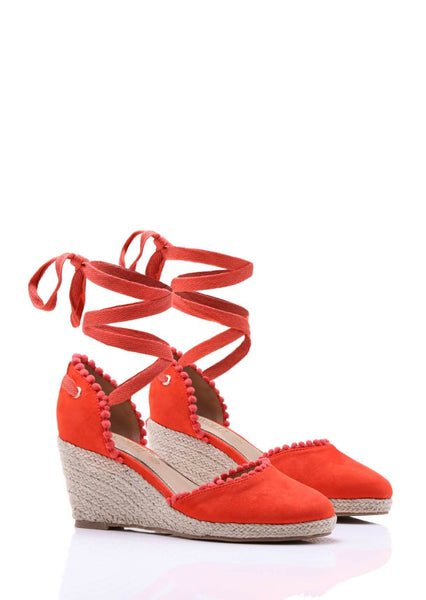 Wide Fit Suede Wedge Orange Sandals Truffle Collection
