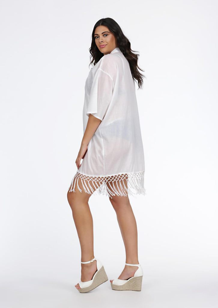 Pink Clove White Tassel Cover Up view 4