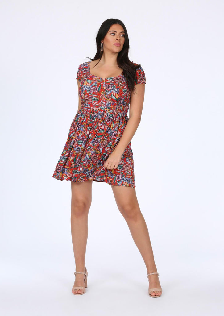 Pink Clove Red Floral Dress view 2
